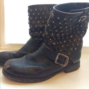 Frye Short Studded Moto Boots
